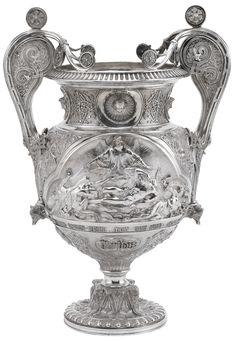 A VICTORIAN SILVER VASE, ELKINGTON & CO, BIRMINGHAM,  1853, the design attributed to Pierre-Emile Jeannest