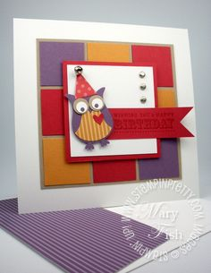 Stampin up demonstrator blog birthday card idea owl builder punch square