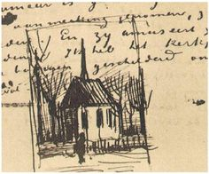 Church in Nuenen, with One Figure, Vincent van Gogh,  Letter Sketches,  Nuenen: 24-Jan, 1884.
