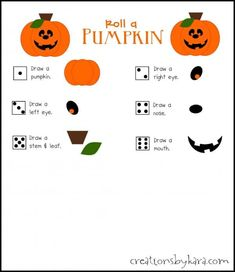 """Free printable """"Roll a Pumpkin"""" Halloween game. Great for classroom Halloween parties, or family fun night! Halloween Games Teens, Classroom Halloween Party, Games For Teens, Holidays Halloween, Halloween Stuff, Preschool Halloween, Halloween Activities, Halloween 2017, Halloween Night"""