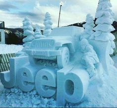 A Jeep snow sculpture at the Winter X - Tynan Motors Car Sales Jeep Jk, Jeep Wrangler Jk, Jeep Wrangler Unlimited, Jeep Truck, Jeep Quotes, Snow Sculptures, Jeep Accessories, Jeep Grand Cherokee, Cute Images