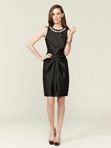 Beaded Satin Pleated Dress by Love Moschino at Gilt