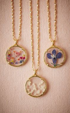 Gorgeous floral pressed necklaces