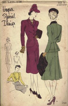 Vogue Special Design 1940s Women's Two Piece Suit Blouse Back Pleats Fitted Waist Notched Collar includes Muff Bust 32