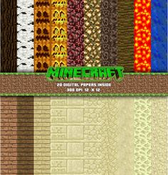 20 X Minecraft Digital Papers Set Of 20 Digital By P Stdesign
