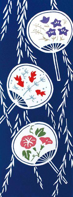 Japanese hand towel, Tenugui 柳に団扇 Japanese Patterns, Japanese Textiles, Japanese Fabric, Japanese Prints, Japanese Design, Japanese Kimono, Japanese Art, Japanese Style, Japanese Culture