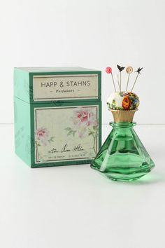 Happ & Stahns Rose Alba 1842 Eau de Parfum ( It features the notes of pink pepper, Darjeeling tea and grapefruit, wisteria, Alba roses, amber wood and cashmere musk. The eau de parfum is housed in an inkwell bottle topped with a pincushion and Victorian-inspired pins)