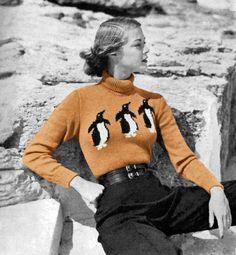 Vogue penguin sweater knitting pattern, circa 1950s
