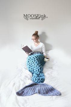Crochet Mermaid Tail Blanket by MOOSEinkDesign on Etsy