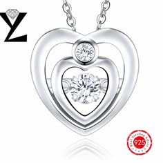 Wedding engagement necklace for women 100% pure 925 sterling silver pendant love  gift for girlfriend sterling silver jewelry