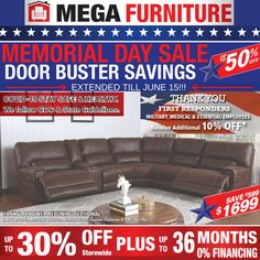This is the FINAL WEEKEND for our EXTENDED MEMORIAL DAY SALE!!! 🇺🇸 🇺🇸  SALE PRICES STARTING AT $299 !!! ALL FIRST RESPONDERS INCLUDING MILITARY, MEDICAL & ESSENTIAL EMPLOYEES RECEIVE AN ADDITIONAL 10% OFF!! VISIT US THIS WEEKEND!!! Mega Furniture, Memorial Day Sales, Universal City, Reclining Sectional, Power Recliners, Room Set, Finance, Medical, Military