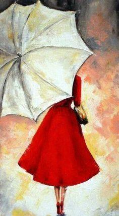 Paraplyvader i vast parasolldags i ost