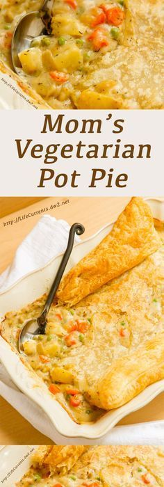 Mom's Vegetarian Pot Pie is yummy comfort food. Snoqualmie Vineyards white wine is the perfect addition to this meatless Monday dish