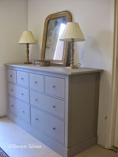 New look with Laura Ashley Pale French Gray paint, antique brass knobs. This was an Ikea Hemnes pine drawer that I bought secondhand and hacked.