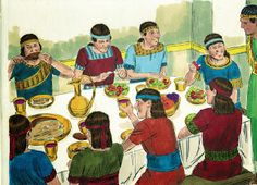 Bible Fun For Kids: Daniel, Shadrach, Meshach and Abednego Refuse the King's Meal Daniel Chapter 1, Book Of Daniel, Sunday School Lessons, Lessons For Kids, Bible Lessons, Free Stories, Bible Stories, Images Bible, Bible Pictures