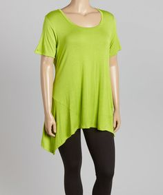 Another great find on #zulily! Apple Green Scoop Neck Tunic - Plus by GLAM #zulilyfinds