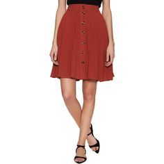 Line & Dot Line & Dot Women's Jackson Cotton Button Flared Skirt - Red... ($55) ❤ liked on Polyvore featuring skirts, red, flared skirt, red polka dot skirt, cotton skater skirt, ruched skirt and circle skirt