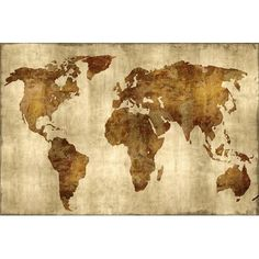 """East Urban Home 'The World' Graphic Art Print on Canvas in Bronze on Gold Size: 12"""" H x 18"""" W x 0.75"""" D"""