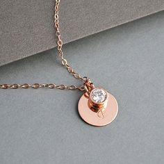Anfängliche Halskette Rose Gold personalisierte von MalizBIJOUX