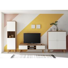 Wohnwand Lillian Norden Home Home Entertainment Centers, Bedroom Wall Designs, Metal Wall Decor, Room Paint, Wall Painting Living Room, Adjustable Shelving, Wall Colors, Storage Spaces, New Homes