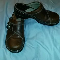 Eastland shoes Brown leather clogs with buckle. Gently worn with minor scuff on right shoe, see third picture. 2 inch heel. Eastland Shoes
