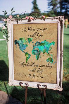 wedding Themes travel - Where you go, I will Go Ruth Wedding Sign *Printable Wedding Themes, Wedding Signs, Wedding Colors, Our Wedding, Dream Wedding, Wedding Decorations, Destination Wedding, Wedding Hacks, Wedding Ideas