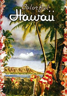 Colorful Hawaii Old Hawaiian Hula surfing Print Hawaii