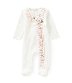 Starting Out Treasures Newborn6 Months FloralChiffonTrimmed Footed Coverall #Dillards