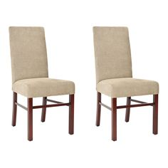 With their soft, luxurious colors and textured finish, these sage side chairs add an elegant feeling to your dining room. Made with a warm wooden base, each chair in the set of two features a padded seat that ensures a comfortable mealtime experience.