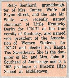 Betty Southard Stokes @ University of Kentucky