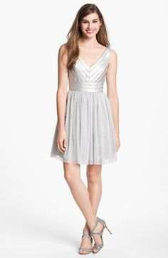 v-neck dress. fitted at waist.  Aidan Mattox Embellished Tulle Fit & Flare Dress   Nordstrom