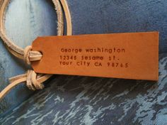 2 Custom Leather Luggage Tags  - Veg-tan color  - Perfect Gift for Wedding or Anniversary (Same Texts)