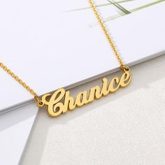 HOPE Name Necklace Stainless Steel 18ct Gold PlatedPersonalised Jewellery
