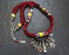 Tribal Inspired Necklace with Venetian & Naga Glass Trade Beads and Berber Silver Pendants