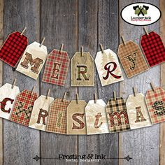 Christmas Bunting Banner  Buffalo Plaid by frostingandink on Etsy