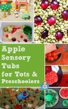 Apple themed sensory bin activities for toddlers and preschoolers - perfect for Tot School