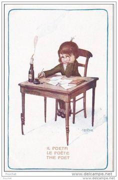 Illustrateur  A. Bertiglia : Il Poeta - Le Poète - The Poet  - (enfant) Bougie Encrier