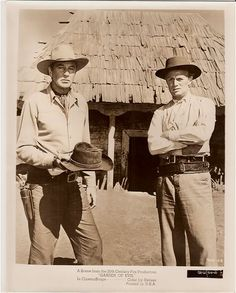GARDEN OF EVIL (1954) - Gary Cooper & Richard Widmark on location in Mexico - Directed by Henry Hathaway - 20th Century-Fox - Publicity Still.