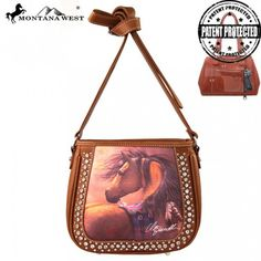 Montana West Horse Art Concealed Messenger Bag, Laurie Prindle Collection (MW145G-8360)
