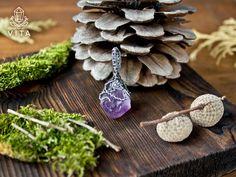 """Кулон """"Бутон"""" Серебро 925, природный кристалл аметиста sterling silver, handmade vk.com/vita_shop"""