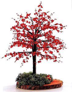 Деревце с красной листвой / Деревья, бонсай / Biserok.org