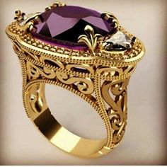 Gorgeous Gold Ring topped with a magnificent Amethyst. Jewelry Rings, Jewelry Accessories, Fine Jewelry, Jewelry Design, Jewlery, Artisan Jewelry, Antique Jewelry, Vintage Jewelry, Purple Jewelry