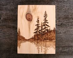 Lakeside Sun Art Block Wood Burning by TwigsandBlossoms on Etsy