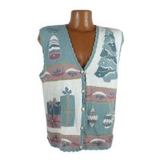 Ugly Christmas Sweater Vintage Cardigan Vest Party Tacky Holiday M