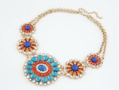 J.Crew Luxurious Colourful Gem Crystal Sunflower Alloy Pendants Necklaces High Quality