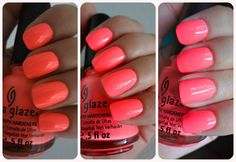 Flip Flop Fantasy - China Glaze in dim light, shade then sunlight. Love how this polish seems so NEON in darker lighting! :)