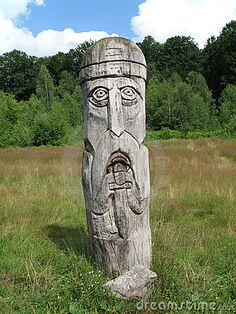 Slavic Pagan Gods | Landscape with a wooden Slavic pagan idol in the Carpathian Mountains ...