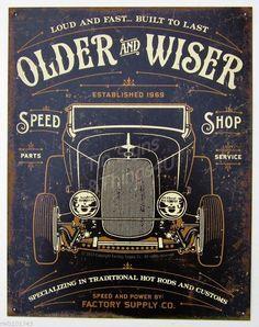 Older & Wiser Parts Service TIN SIGN ~ Vintage hot rod garage auto shop wall decor ~ Vintage Signs, Vintage Ads, Vintage Posters, Garage Signs, Garage Art, Garage Ideas, Car Garage, Hot Rods, Collages D'images