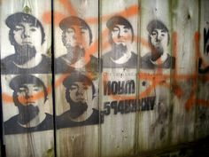 gibberish Russian lettering accompanies streetart stencils #toronto #streetart #graffiti