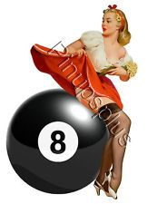 Sexy Pinup 8 Ball Eightball Girl Waterslide Decal For Guitars & more S684